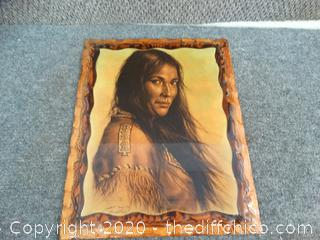 Signed Native American Picture On Wood Backing