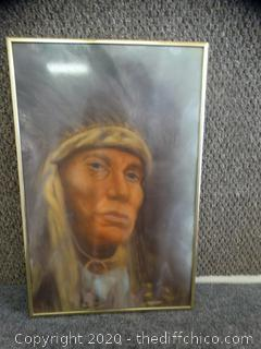 Signed Framed Native American Picture