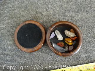Wood Stone Box With Stones & Crystals