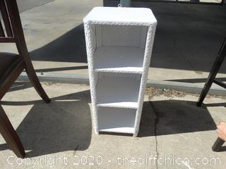 """White Wicker 3 Shelf  T-27 3/4"""" X W-11"""" X 11 1/4"""""""