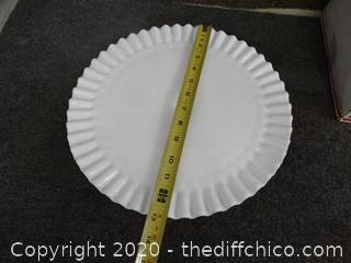 Milk Glass Pedestal Cake Plate