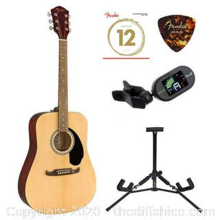 NEW! Fender FA-125 Dreadnought Acoustic Guitar w/ Bonus Accessories & Stand