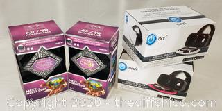 *NEW* Two Onn Virtual Reality Headsets Pink, White & Two Merge Cubes