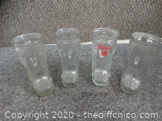 Set of Glass Boot Mugs