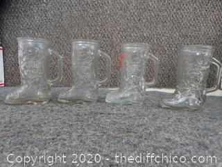 Set of Glass Boot Mugs