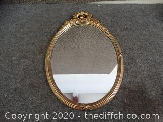 Gold Colored Wall Mirror - plastic