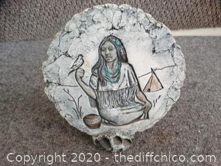 Signed Native American Plate w/ Stand