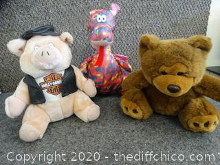 Bear, Dragon, Harley Pig Stuffed Animals