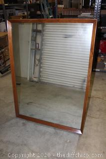 """LARGE AND HEAVY SOLID WOOD FRAMED MIRROR 46""""x34"""""""