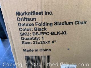 Driftsun Folding Stadium Seat, Reclining Bleacher Chair - Deluxe Black (J25)