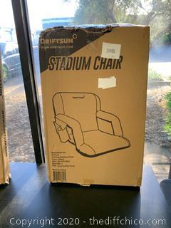 Driftsun Folding Stadium Seat, Reclining Bleacher Chair - Standard Black (J26)