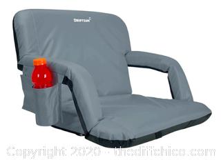Driftsun Folding Stadium Seat, Reclining Bleacher Chair - Deluxe Grey (113)