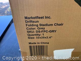Driftsun Folding Stadium Seat, Reclining Bleacher Chair - Standard Grey (114)