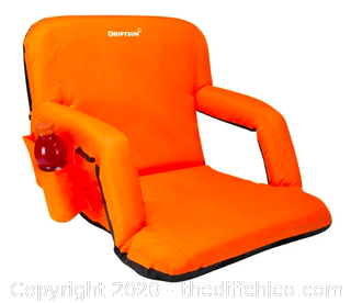 Driftsun Folding Stadium Seat, Reclining Bleacher Chair - Standard Orange (118)