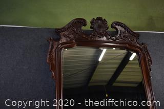 Mahogany Framed Beveled Mirror