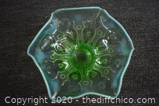 Green Depression Glass Dish