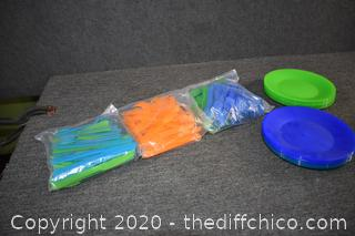 Plastic Plates and Utensils for Picnic / Camping