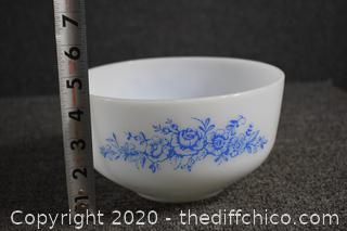 Vintage Federal Milk Glass Blue Roses Bowl