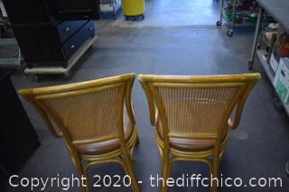 Pair of Rattan, Wicker, Leather Palecek Chairs