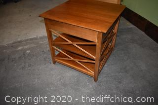 Pair of Lane  End Table / Night Stand w/drawer-only 1 glass top