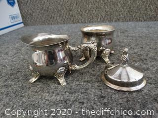 Silver Plated Sugar & Creamer Dishes