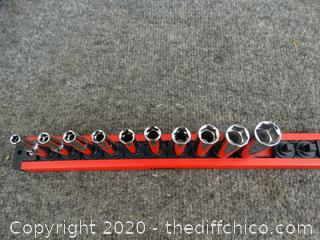 "Husky Socket Set on Magnetic Lock & Twist Strip (see pictures)  "" SAE"""