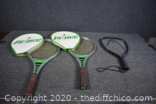 2 Tennis Rackets plus 1 Racketball