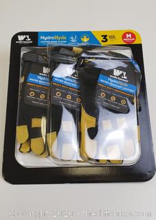 Hydra Hyde Leather Work Gloves 3 pack Medium