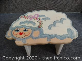 Hand Painted Lamb Stool