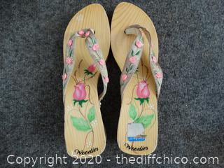 Woodies Wooden Sandals, Made in Vietnam, Size 8