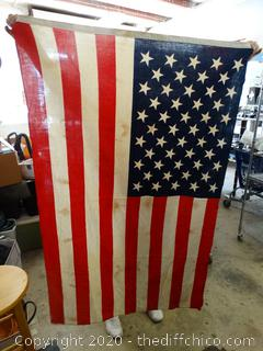 "American Flag - Needs Cleaning - 55"" x 37"""