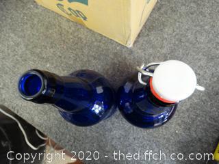 10 Blue Glass Bottles in Box