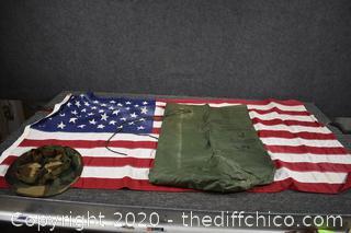 American Flag, Cameo Hat plus Waterproof Bag
