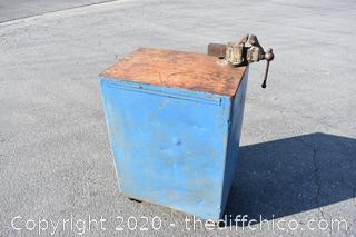 Metal Cabinet w/Vise