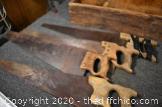 Wood Carrying Box plus Hand Saws