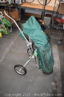 Golf Bag, Clubs and Caddy