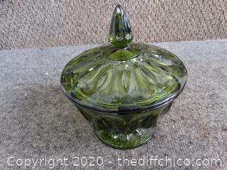 Green Glass Dish w/ Lid