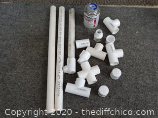 PVC Pipe, Pieces, & Pipe Cement