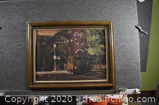 Framed Signed Original Painted on Cork