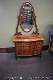 Vintage 3 Drawer Dresser w/Beveled Mirror