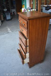 Maple 6 Drawer Tall Boy Dresser