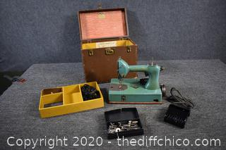Vintage Sew Handy by Singer Sewing Machine w/travel case-lights up