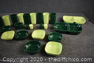24 Pieces of 2 Tone Green Franciscan Dishes
