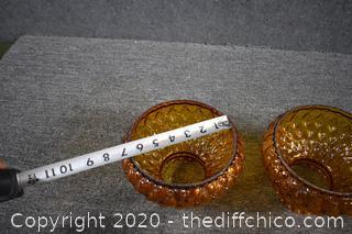 3 Amber Glass Shades