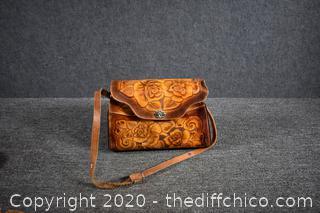 Hand Tooled Leather Shoulder Hand Bag