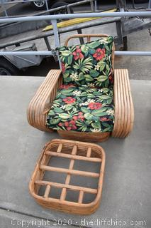2 Rattan Chairs, 2 Foot Rest and Cushions