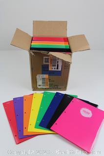 NEW CASEPACK OF 72!! 2 Pocket Plastic Folder Multicolor - Mead