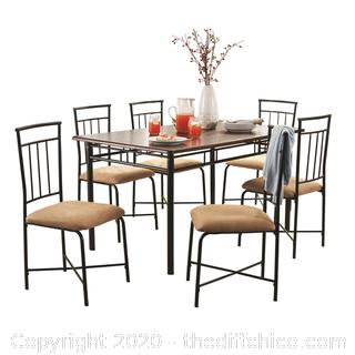 NEW IN BOX Mainstays 7-Piece Dining Set, Wood and Metal