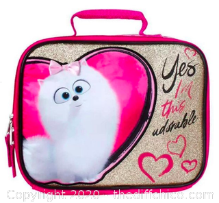 Secret Life of Pets Gidget Insulated Lunch Box - Glittery Pink & Gold (J8)