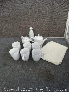 Tea Serving Lot & Lace Tablecloth